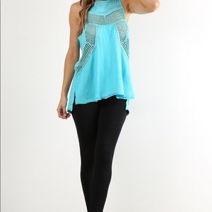 Tops - Turquoise Cut Out Tank